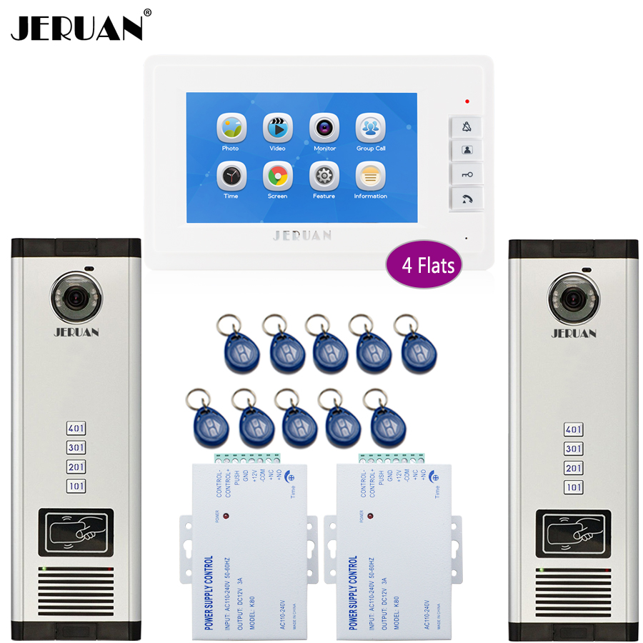 JERUAN 7`` Video DoorPhone Record Intercom system RFID Access Entry Security Kit For 2 Apartment Camera(4 button) to 4 monitor jeruan apartment 4 3 video door phone intercom system kit 2 monitor hd camera rfid entry access control 2 remote control