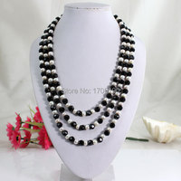 Fashion 3 Rolls Black Crystal Beads Necklace Mix Beads Pearl Necklace Lady Party Necklace Jewelry Free