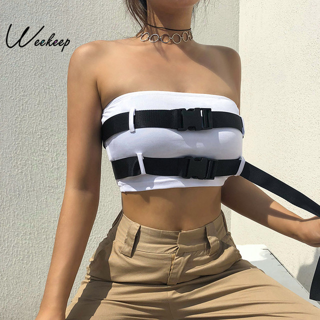 6db8c945fb Weekeep Women Adjustable Tube Tops White Sexy Backless Streetwear Strapless  Boob Bandeau Summer Cropped Breast Wrap