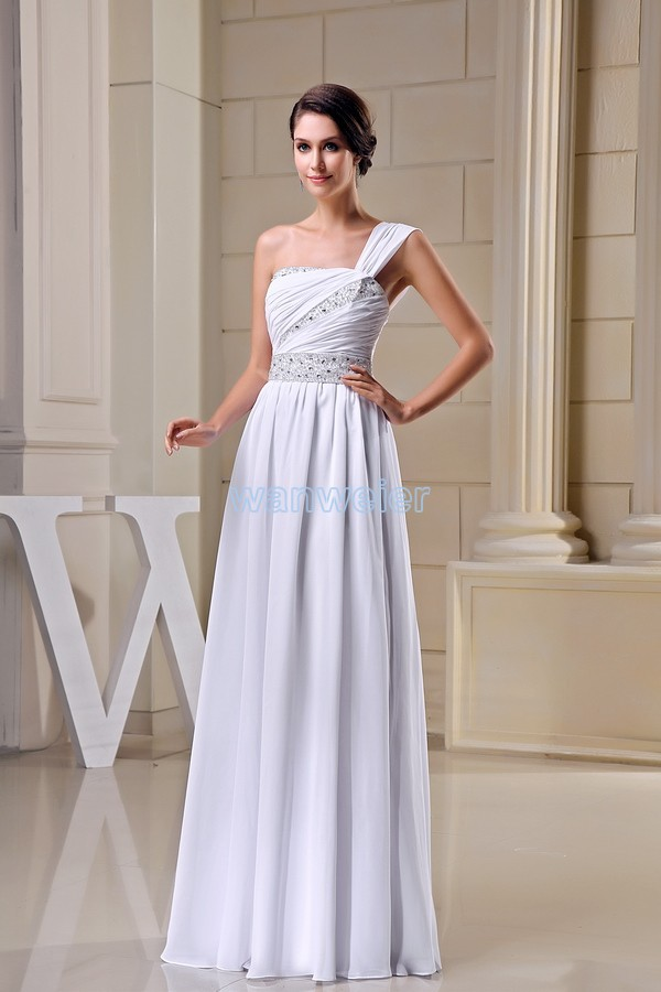 free shipping modest 2016 design hot sale crystal beading one shoulder custom size plus size gown long white   Bridesmaid     Dress
