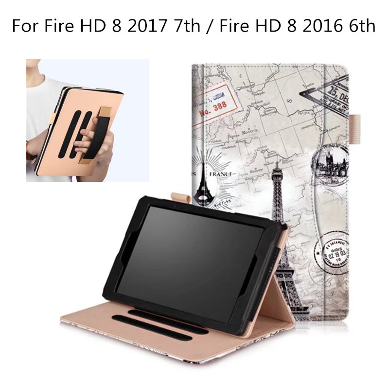 Cute Case for amazon kindle ALL New fire hd 8 2017 7th generation Hand Strap smart Case for HD8 2016 release 6th tablet PC inov 8 сумка all terrain kitbag black