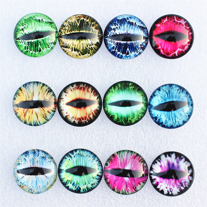 <font><b>12mm</b></font> Random Mixed Dragon Eyes Round Glass Cabochon Flatback Photo Dome Jewelry DIY Accessories For base Tray 50pcs/lot K06093 image