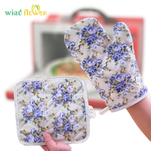 Glove Microwave Oven Protected Cooking Heat-Proof Kitchen Cotton Mat Pot-Pad Wind-Flower