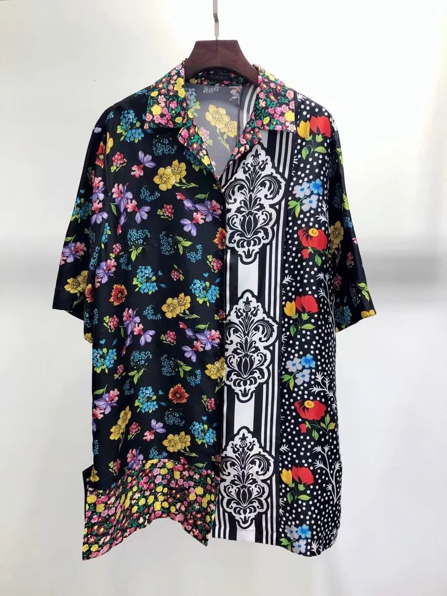2019 الصيف عالية الجودة عالية الشارع أزياء الرجال والنساء زر قصيرة الأكمام زر طباعة بدوره إلى أسفل طوق قميص-في بلوزات وقمصان من ملابس نسائية على  مجموعة 1