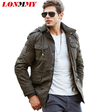 LONMMY Hoodies windbreaker Cotton military men jacket Velvet Thick Mens jackets and coats Bomber Hooded 2016 Winter jacket men