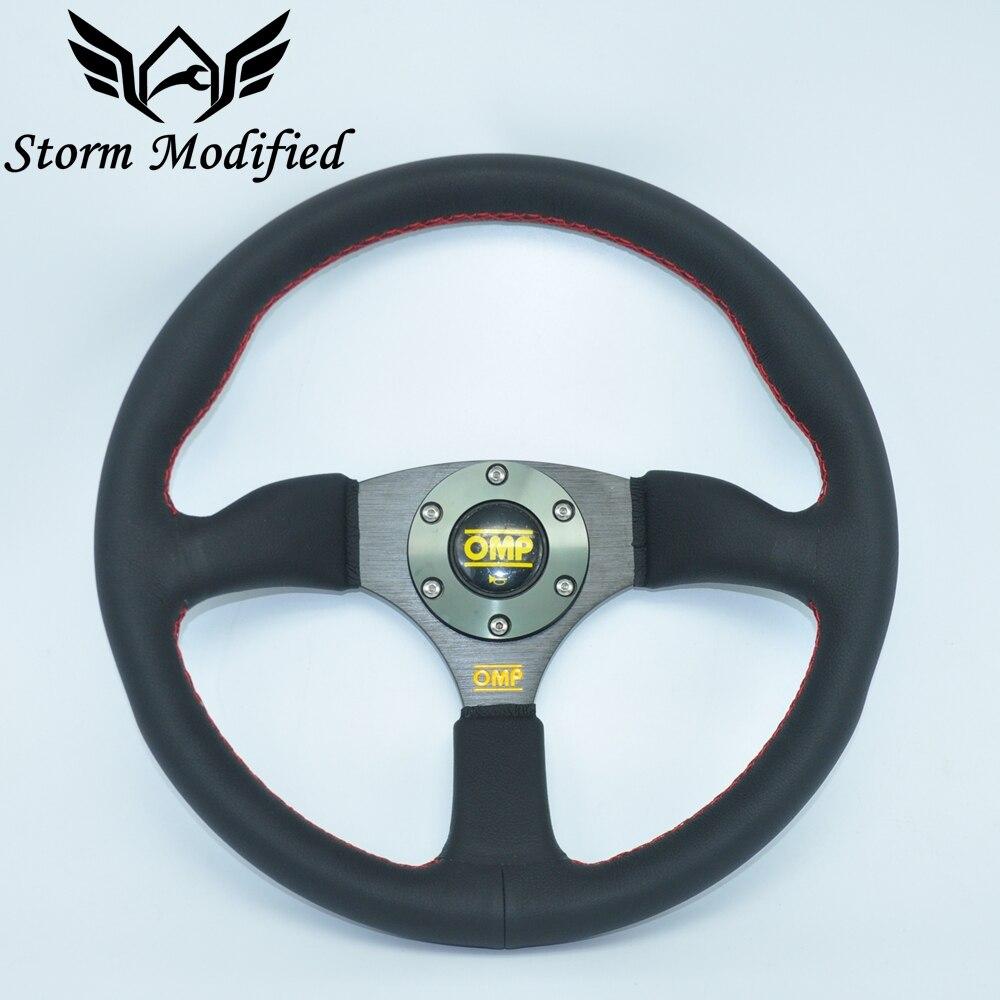 SuTong High Quality 14inch 350mm OMP Steering wheel Deep Corn Drifting Steering Wheels leather Steering wheels