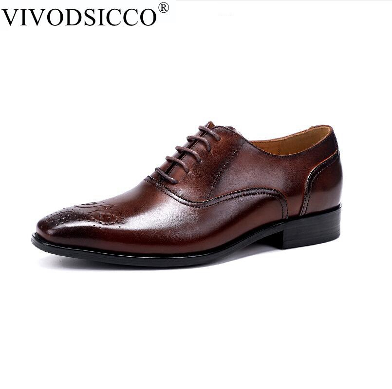 Fashion Trends Brocade Carved Business Dress Genuine Leather Men Shoes Wedding Shoes Casual Office Work Shoes Male Oxfords