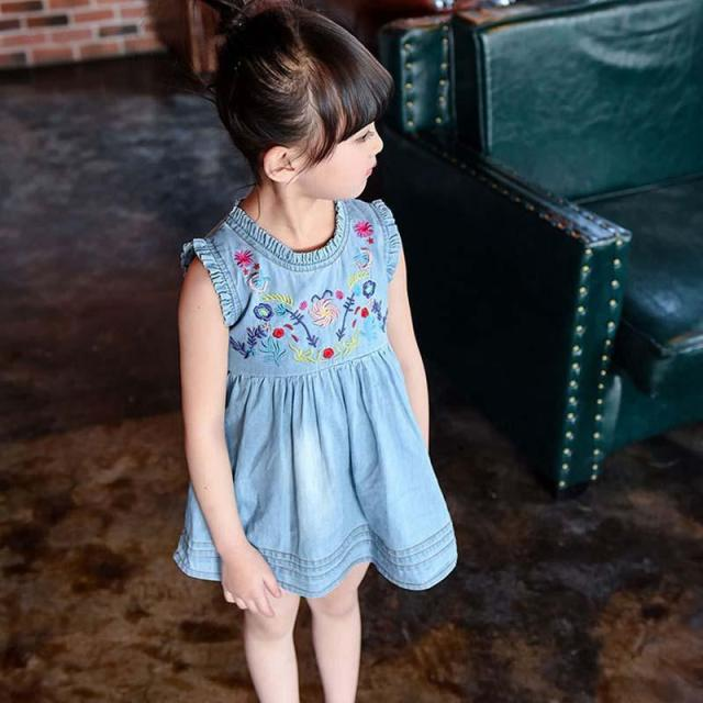 Girls Dress Summer 2017 Girl Flower Embroidery Baby Sleeveless Dresses Children Denim Dresses Kids Party Princess Girl Clothes