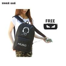 Luminous school bags Girl boy campus backpacks Teenager Prim