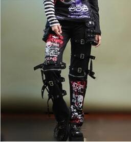 Men ' s Goth matar Matt pantalones de hombre y no convencionales de la impresión graffiti cráneo personalidad recta ojal pantalones para bailarín del cantante