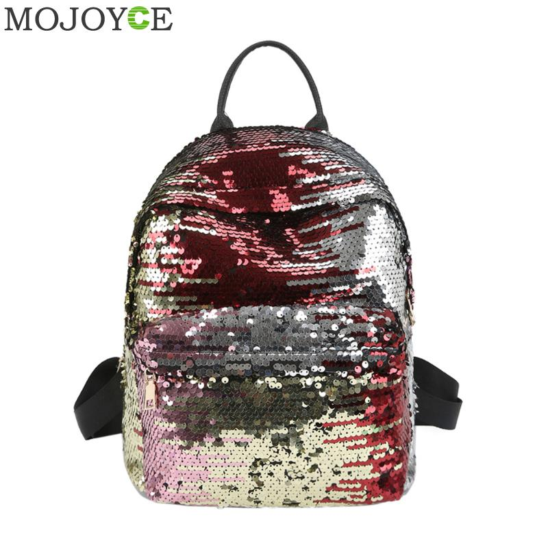 c47428f5f2 Sequins Women PU Backpacks Glitter Large Girls Travel Shoulder Bags Fashion  Brand Black School Bag female mochila Shine Backpack Tags