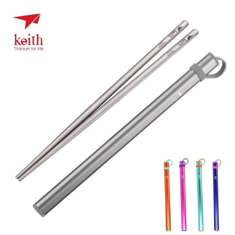 Keith Outdoor Titanium Round Square Chopsticks With Aluminum Tube Cover Camping Picnic Travel Children Tableware Cutlery Ti5822