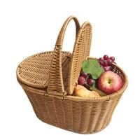 Artificial Rattan Woven Hand basket Hotel Cleaning Basket Shopping Picnic Food Fruit Sundries Container Flower Pot With Cover