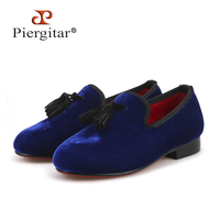 Piergitar 2019 handmade Royal blue colors children tassel shoes banquet kid casual shoes parental shoe same men loafers designs
