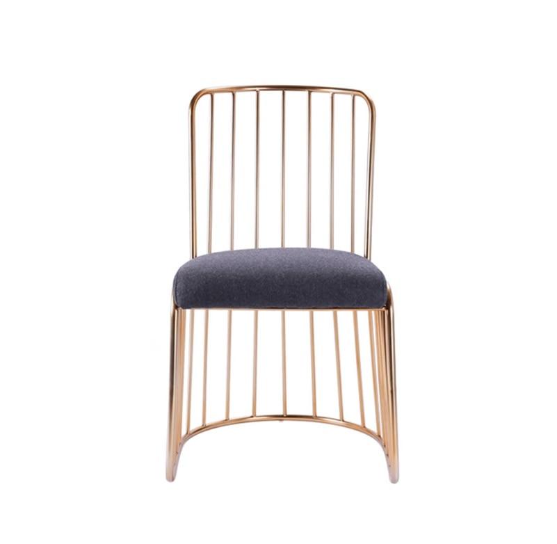 Cadeira Lateral Fio de Metal Acabamento Em Ouro com Encosto/Bar Contador de Alta Fezes Encosto Baixo/Low Stool - 3