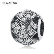 Аутентичные бусины из стерлингового серебра 925 круглые прозрачные кристаллы браслеты с подвесками, соответственные Пандоре обаятельные ор...