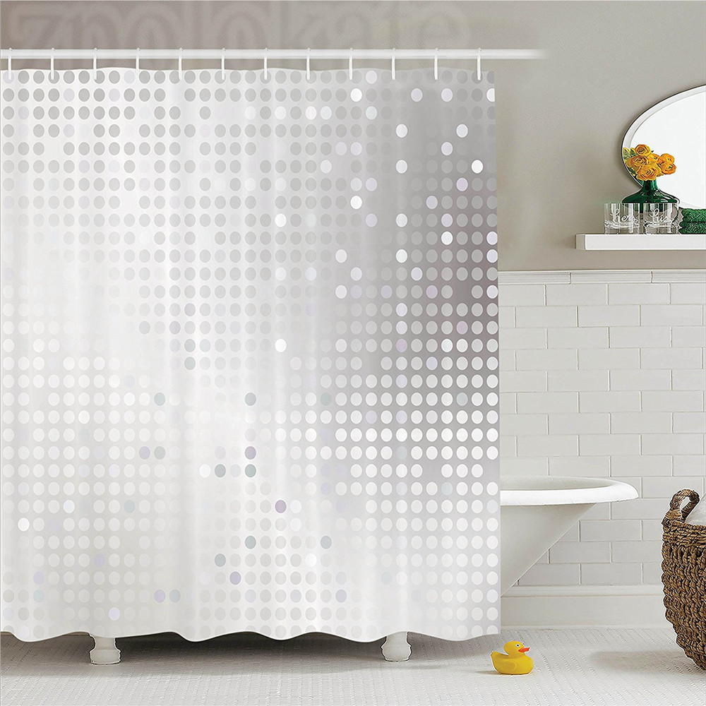Grey Decor Shower Curtain Retro Modern Style Gradient ...