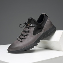 2019 Trendy high-grade high-quality first layer cowhide fabric mens sports shoes breathable casual trend sneakers male