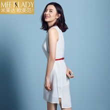 2017 summer dress women's clothing o-neck sleeveless length dress irregular slim chiffon dress female