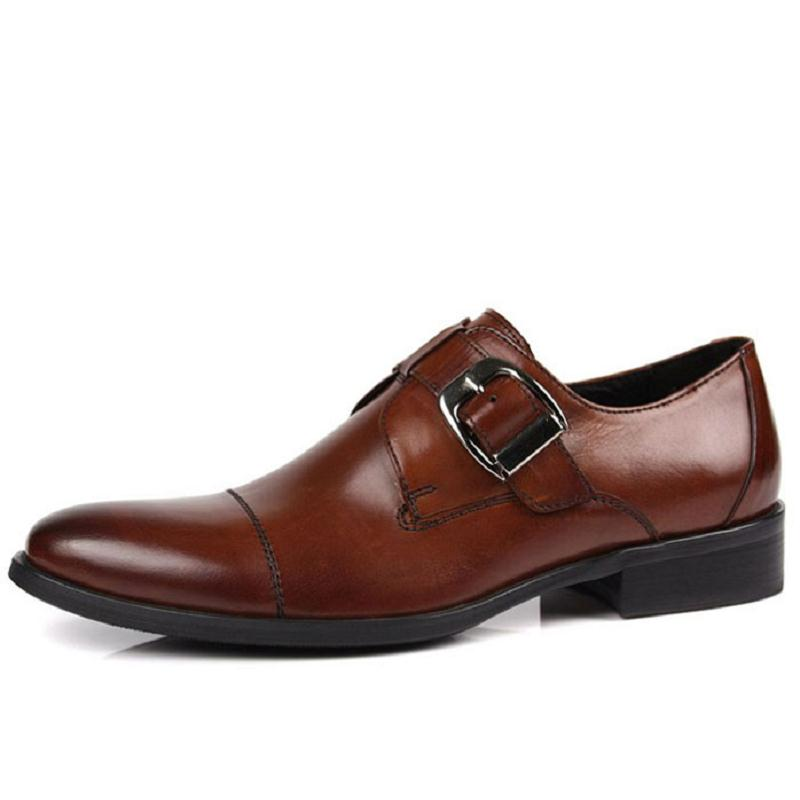 Preto Genuíno Fivela Sapatos Calzado Couro Dos De Casamento brown Negócios Shoes Mens Respirável Heinrich Homens Hombre Festa Black w0qXzBxw8