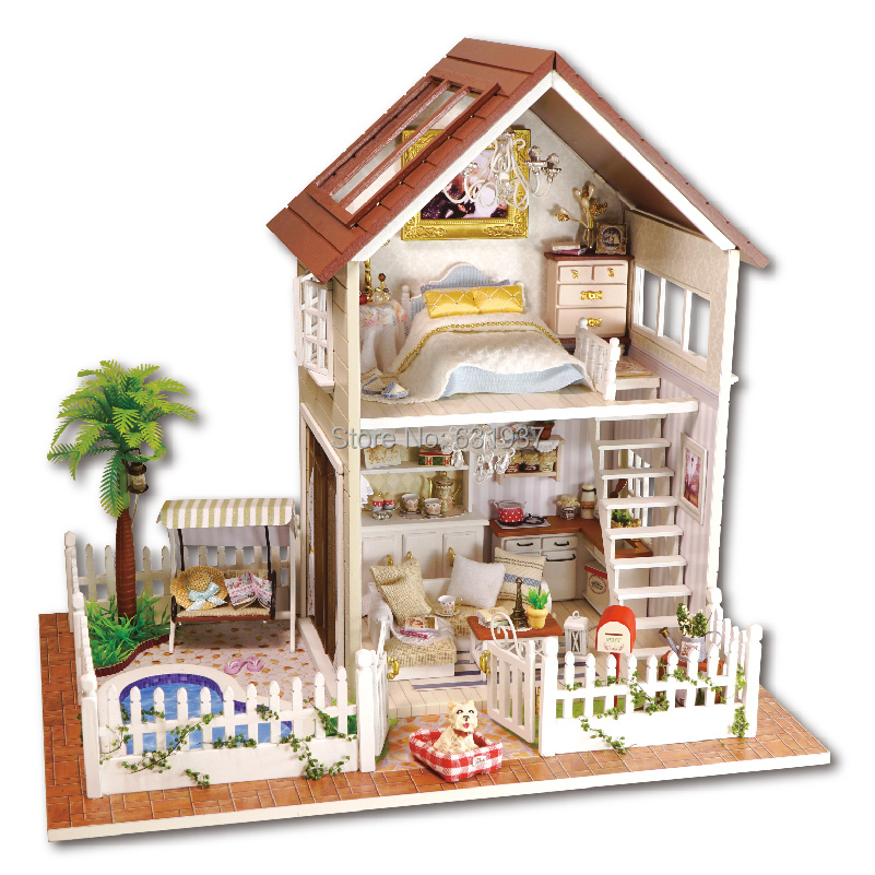 Aliexpress  Buy Diy 1/12 3D Wooden Doll House Miniatura Furniture Wood  dolls light Dollhouse Miniature House Toy Gifts Houses toys Birthday Gift  from ...
