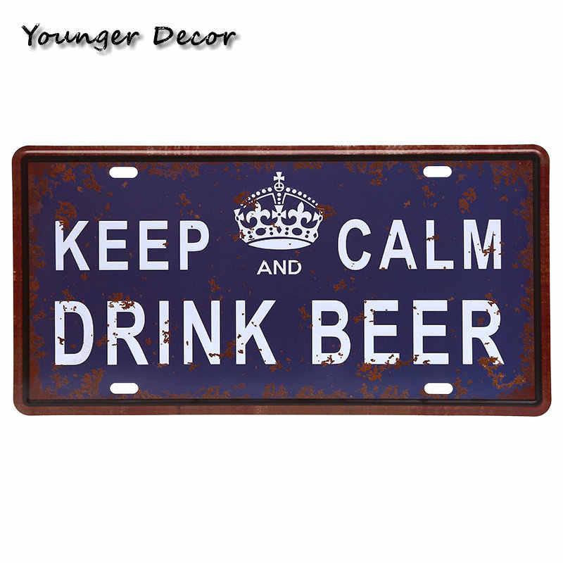Freies Kaltes Getränk Bier Auto Metall Lizenz Platte Marke Wein Schnaps Zinn Zeichen Für Bar Pub Garage Wand Kunst Dekorative malerei YA020