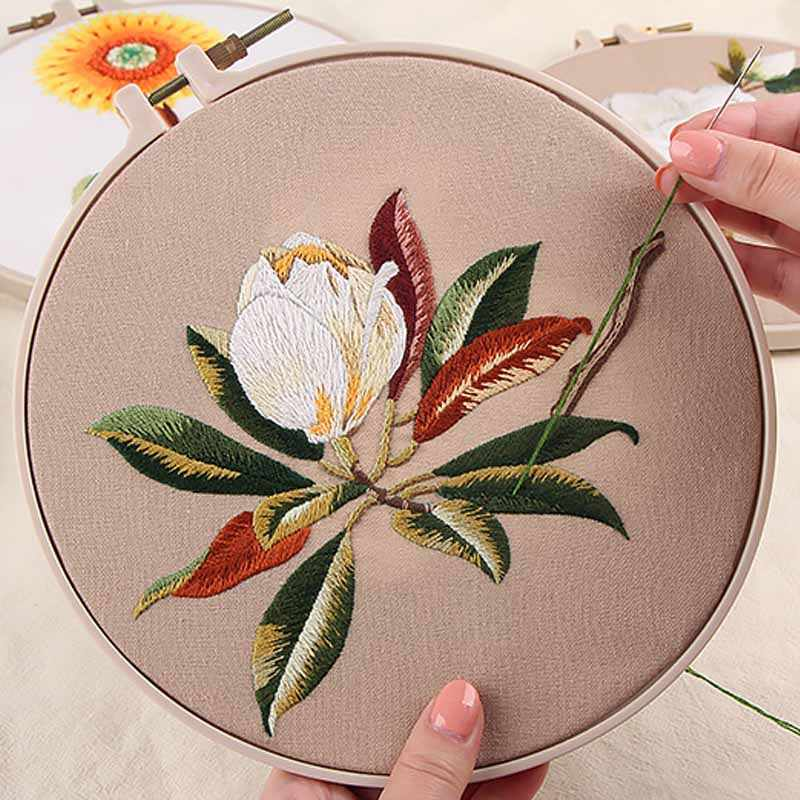 Chinese Embroidery kits with Hoop Flower Cross Stitch Needlework Sets Handwork Swing Art Craft Painting Wall Home Decor Gift