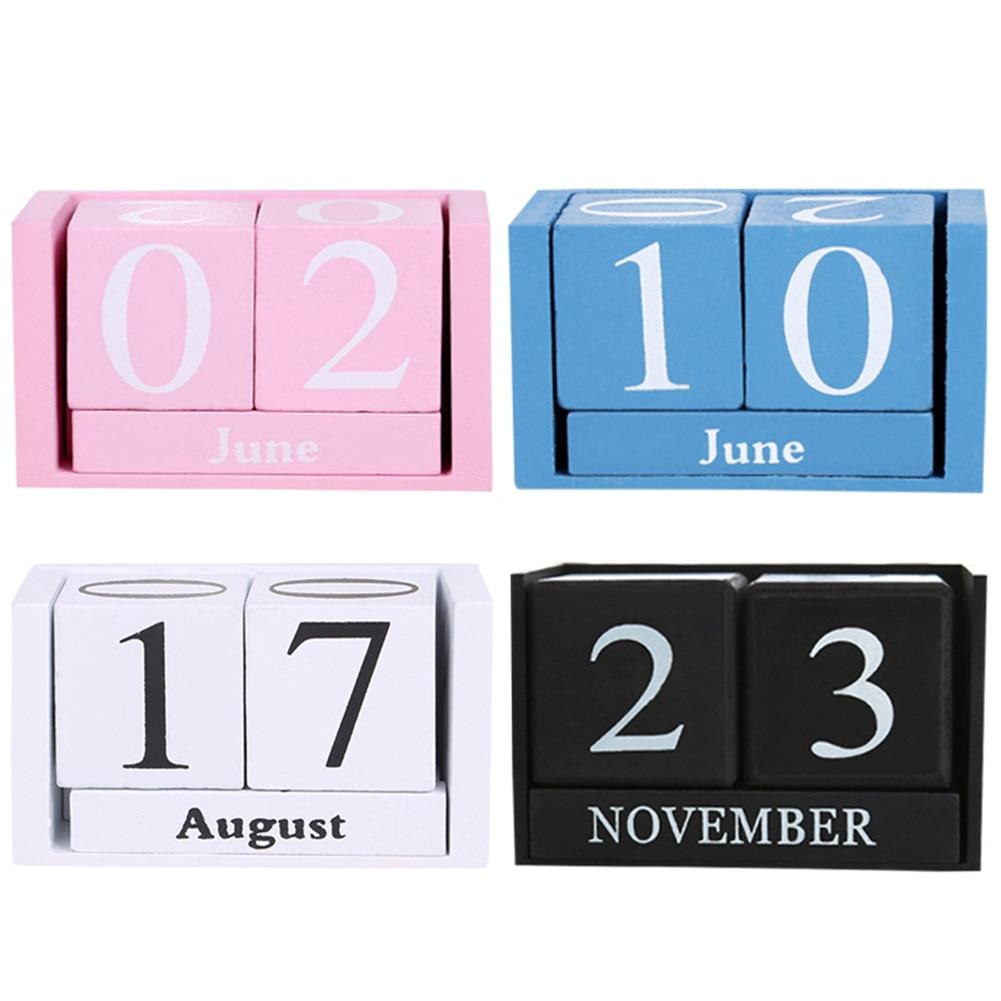 Vintage Wooden Perpetual Desk Calendar Block Planner Permanent Desktop Organizer DIY Agenda Can CSV