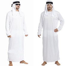 Halloween costume Christmas carnaval new year dress cosplay Arab robe keffiyeh tribe chief men party white
