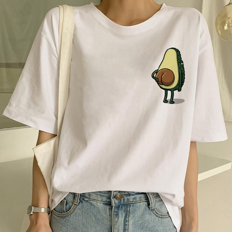 Cartoon Avocado Vegan Short Sleeve Cute   T  -  shirt   Womens Small Fresh Casual   T     Shirt   Harajuku Ullzang Tshirt Fashion Top Tee Female