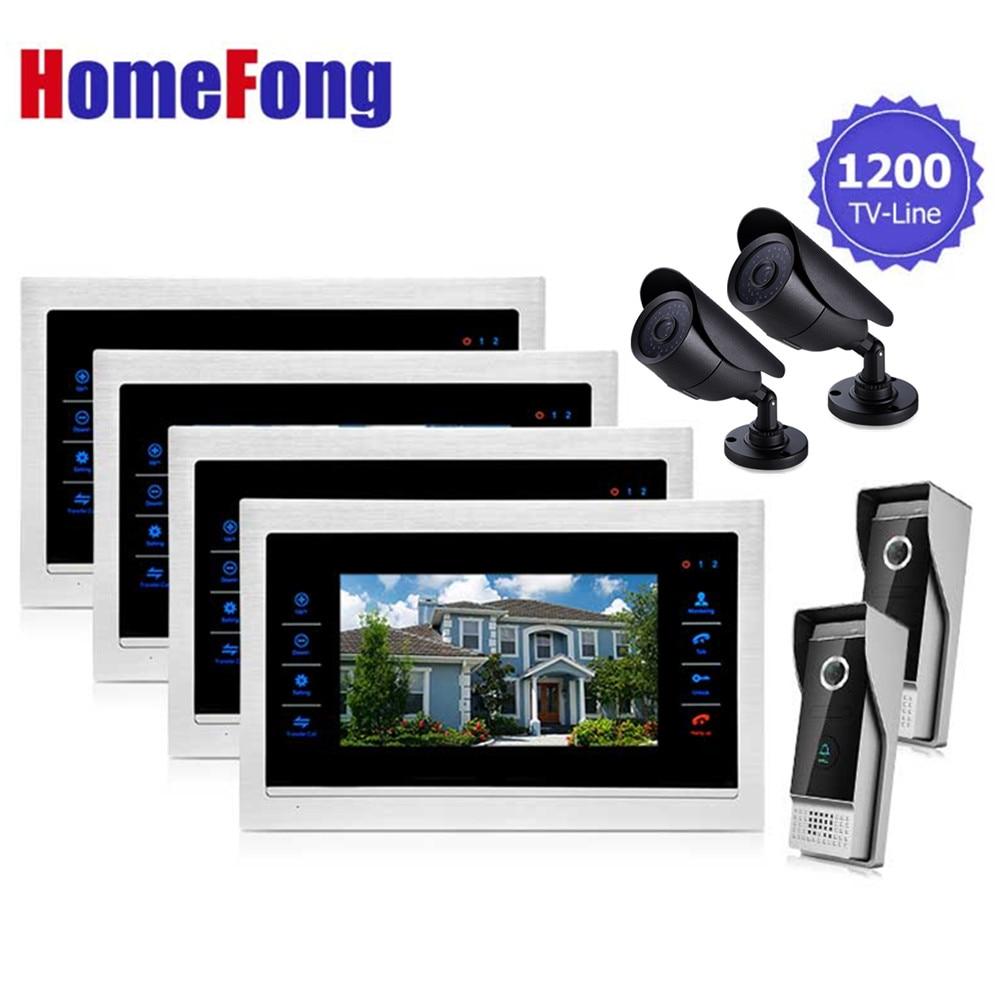 Homefong 7 Inch Video Intercom Video Door Phone Doorbell Monitor System 4 Monitors 2 Doorbell 2 Camera