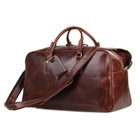 Men's Smooth Oil Leather Travel Bag Classic Vintage Style Luggage Bag Large Capacity Travel Totes