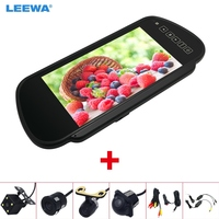 LEEWA 7 TFT LCD Car Rearview Mirror Monitor With Reverse Backup Camera Video System 2.4G Wireless & Cigarette Lighter Optional