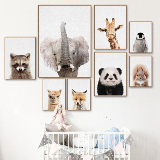 Северный плакат с изображением зебры, олень, панды, лисы, картина на стену, полотно, плакаты с живописью и принты настенные картины детская комната Квадро Настенный декор