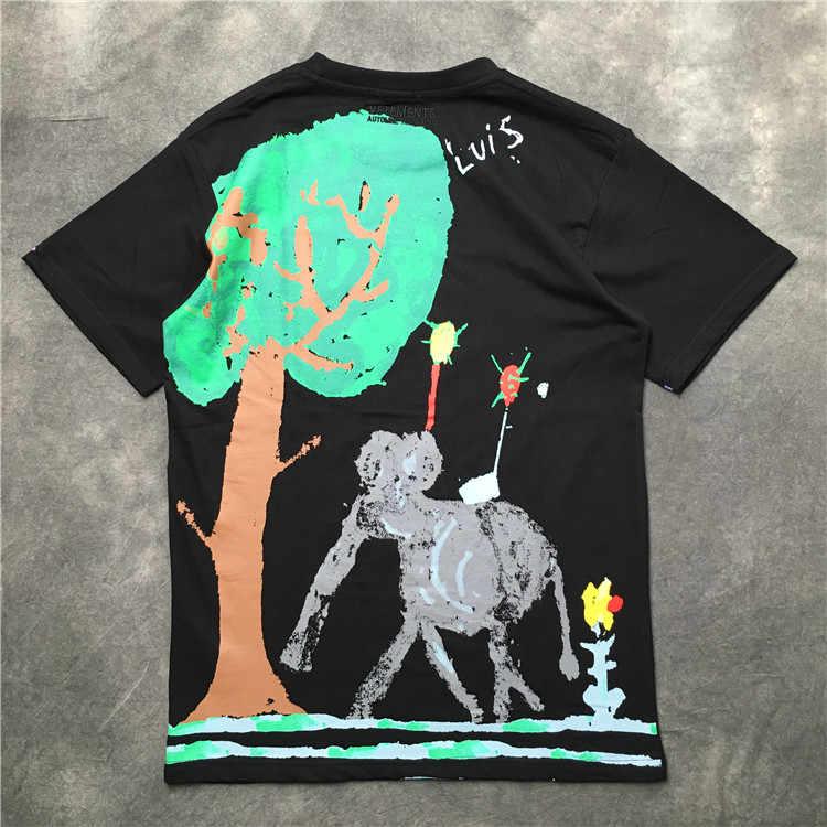 cf4214c83aca ... 2019 Summer Vetements ELEPHANT IN THE ROOM Rainbow Letter Printed Women Men  Short sleeve T shirt ...