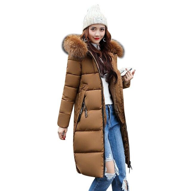 54e2b7ffec1e2 Women Long Warm Coat Faux Fur Hoodies Parkas Woman Wadded Down Jackets  Cotton Clothing Plus Size S~5XL