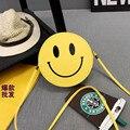 Женщины Плеча Сумки ПВХ Смайлик Emoji Пакеты Легкий вес Корейской Версии Стиль Круглый Желтый Crossbody Сумки