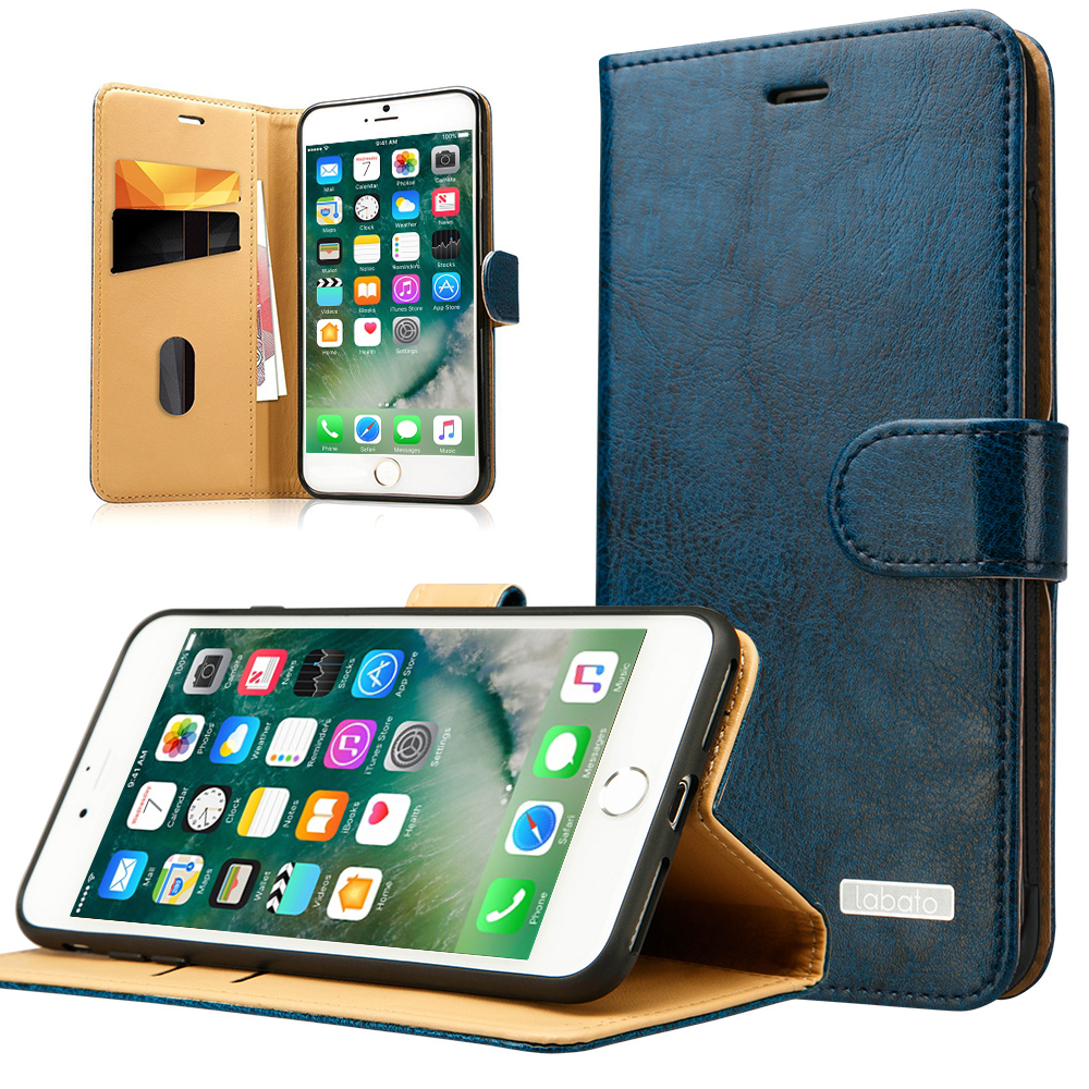 Labato Real Leather Case for iPhone 7 7Plus Genuine Leather Wallet Stand with Card Holder Magnetic