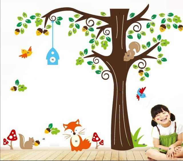Happy Forest Life Fashion Wall Decals For Kids Bedroom Living Room Background Home Decor Removable