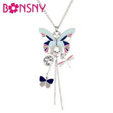 Bonsny Enamel Alloy Rhinestone Butterfly Dragonfly Necklace Pendant Novelty Insect Jewelry For Women Girls Ladies Teen Gift Bulk(China)