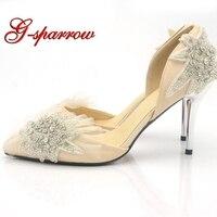 Атласные свадебные туфли цвета шампанского ручной работы острый носок Морская звезда кристалл Туфли для выпускного вечера Для женщин Насо