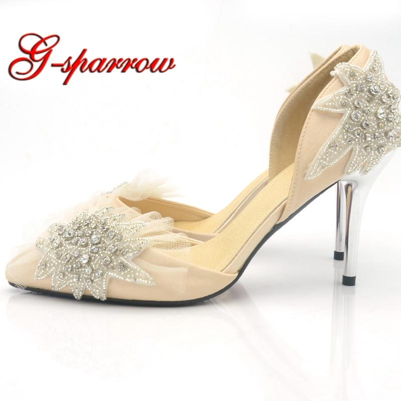 Madre Heels Señaló Starfish La Party Crystal Mujeres A Prom De Novia 9cm Bombas Champagne Hecho Boda Satén Zapatos Mano x0qWwOUYf