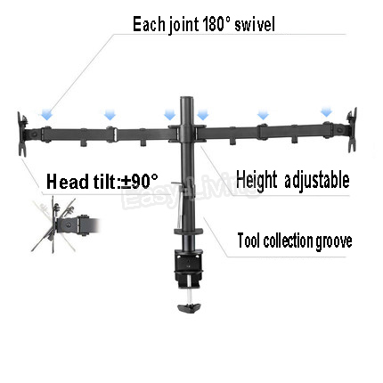 """MS02 Desktop Clamping Full Motion 360 Degree Dual Monitor Holder Stand 10""""-27""""LCD LED Monitor Mount Arm Loading 9.9kgs Each Head 3"""