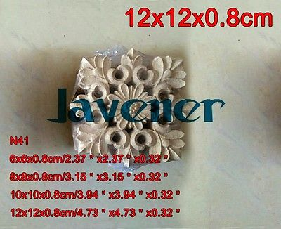 N41 -12x12x0.8cm Wood Carved Long Square Applique Flower Frame Door Decal Working Carpenter Fitment