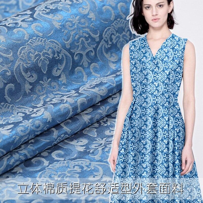 2017 été et automne nouveau nylon coton deux couleurs tissé jacquard tissu bleu port double face tissé vêtements robe