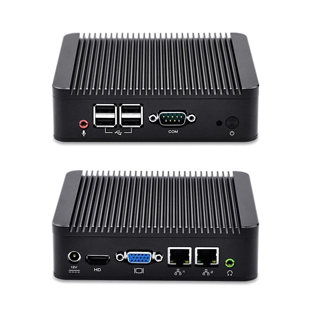 Dual Lan Mini PC Qotom Celeron/Core I3/Core I5 Black Aluminium Alloy 1*COM Ultra-low-power 17W VGA Linux Pfsense Box Router