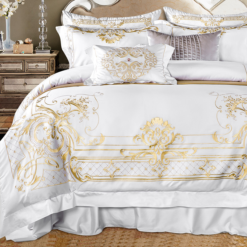 Queen Super King size Bedding set White Egyptian Cotton Gold Embroidery Duvet cover Bed sheet Fitted