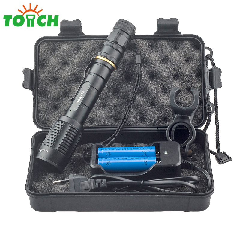 Aluminum Alloy Led Portable Torch Light Cree T6 Waterproof Cycling Flashlight Telescopic Focus Led Zaklamp High Power Spotlight