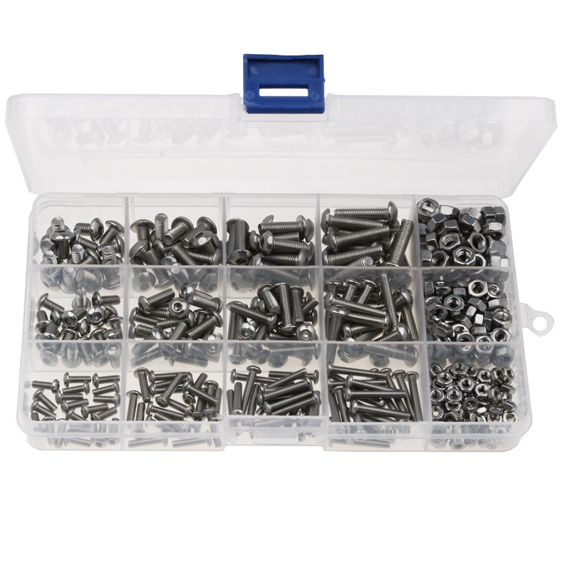440PCS Round Head Stainless Steel Screw Hexagon Hex Socket Screw Bolt Nut M3 M4 M5 Assortment Kit With Plastic Case free shipping iso7380 304 stainless steel round head screw m3 m4 m5 m6 screws hex socket screw three combination 2018 hot