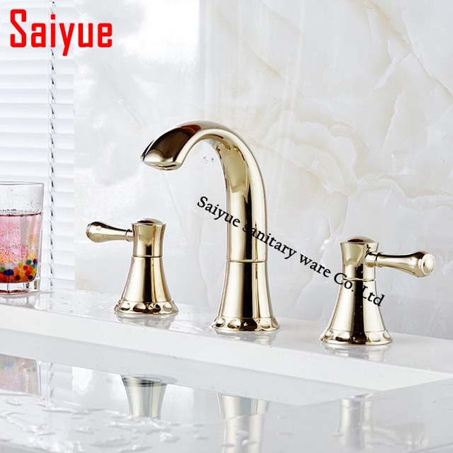 Contemporary Widespread 3 Holes Waterfall Bathroom Sink Faucet Gold Finish Dual Handles Basin Mixer Tap